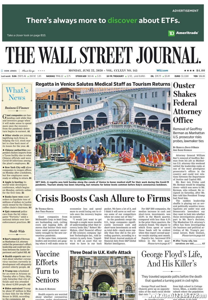 《The Wall Street Journal(WSJ)》2020年06月22日(华尔街日报)【PDF】
